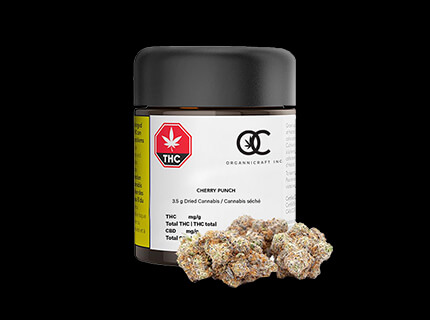Cherry Punch small cannabis dry flower container