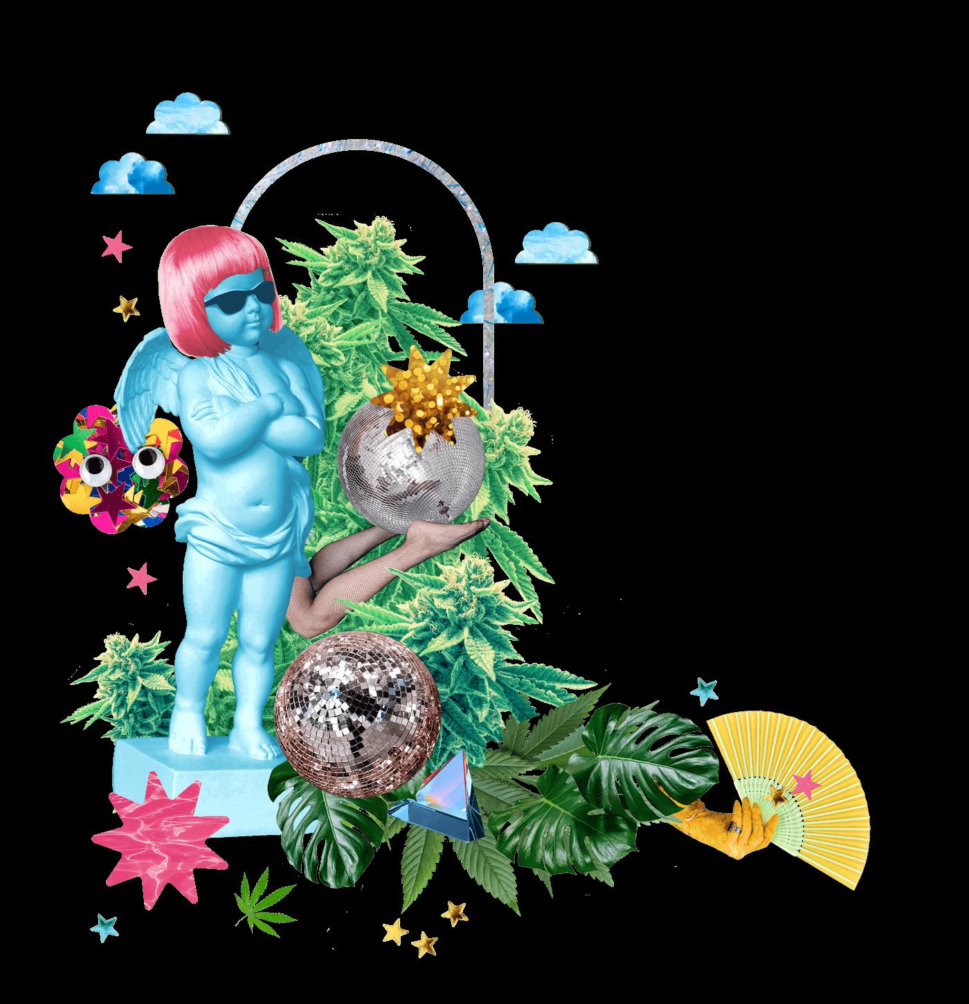 a fun collage of marijuana flowers
