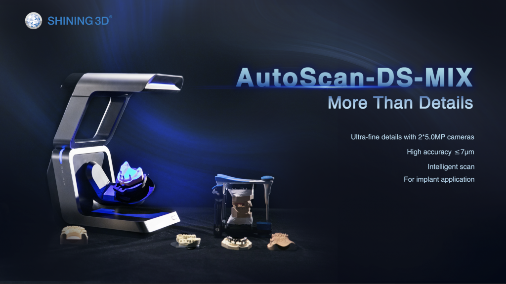 SHINING 3D, the whole digital dental solution provider from 3D Digitizing, through Intelligent Design, to Additive Manufacturing, is proud to announce the launch of the AutoScan-DS-MIX high-end dental lab 3D scanner.
