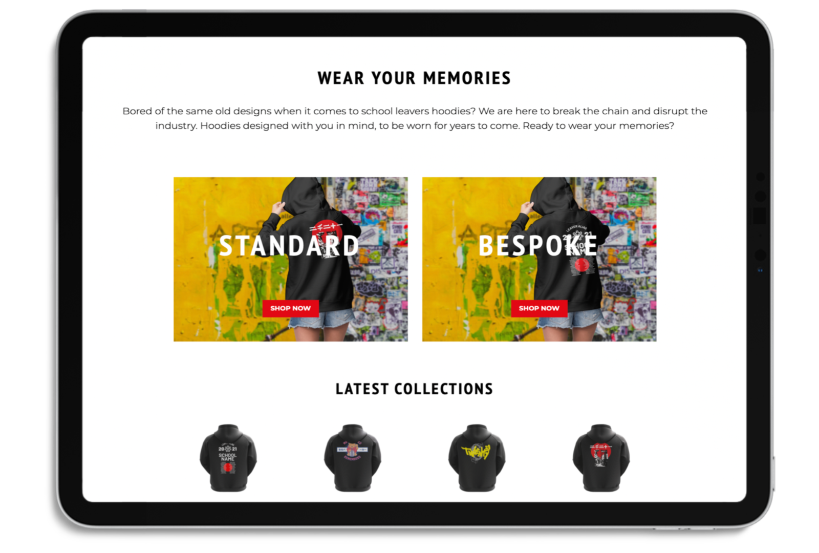 iPad mockup with a sample of the sarupaka website