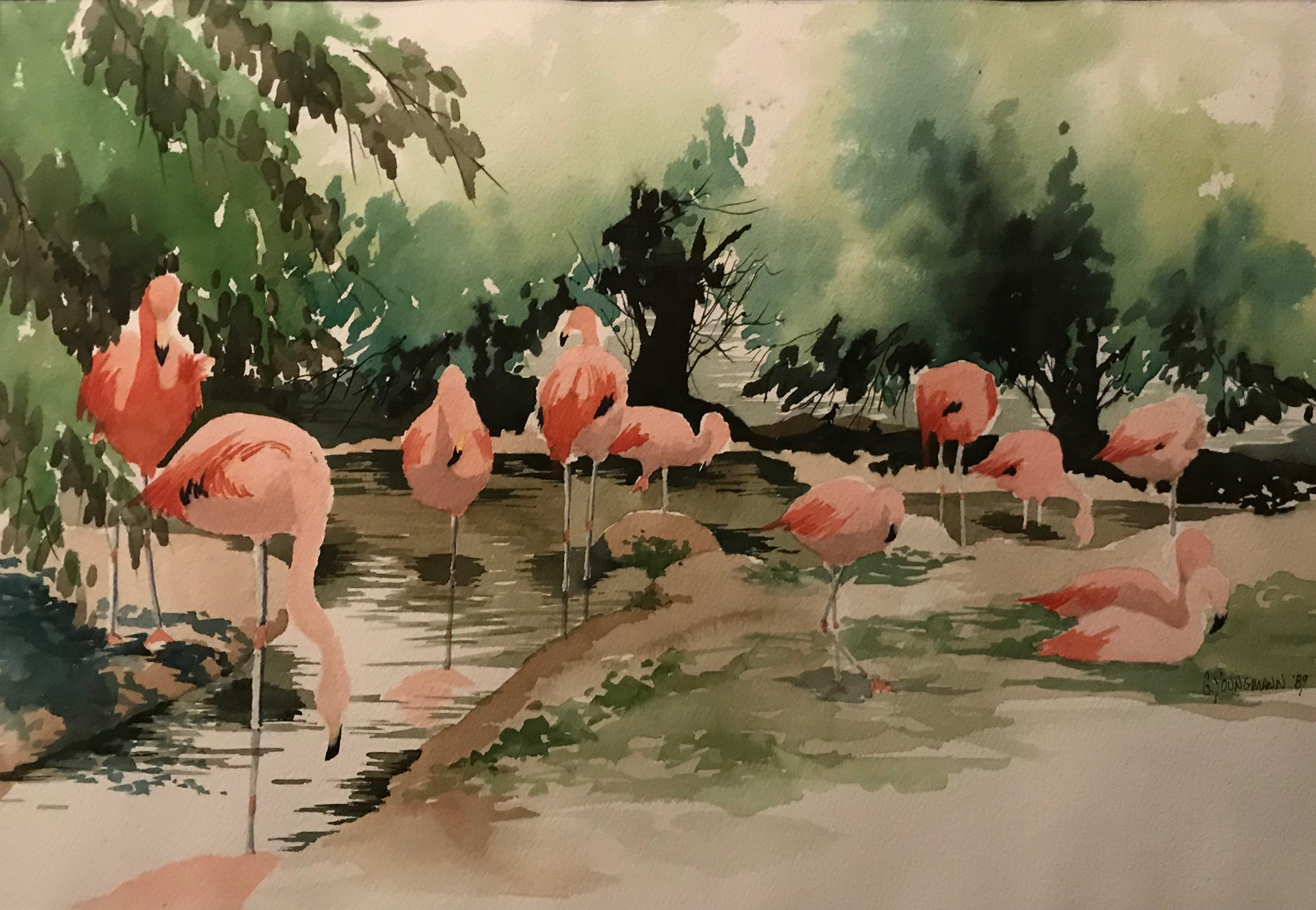 Painting #14 Flamingo Pond