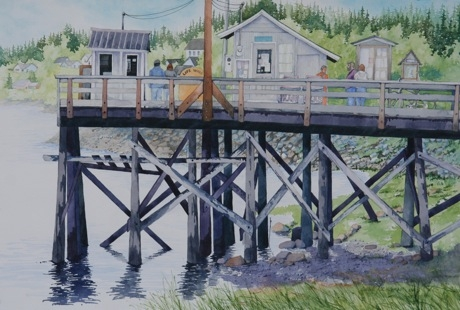 Painting #30 Dock in Haines, Alaska