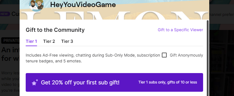 Anonymous Twitch Gift Sub Button