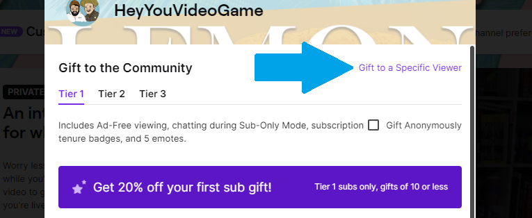 Gift to a Specific Viewer on Twitch Screenshot
