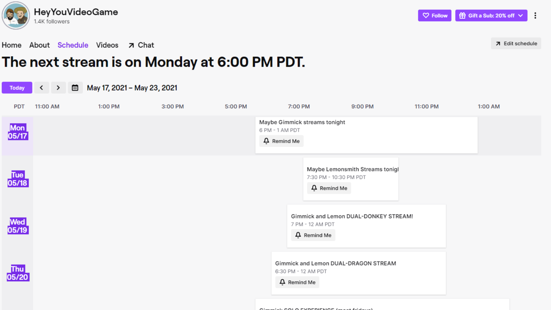 Screenshot of Twitch Channel's Weekly Schedule