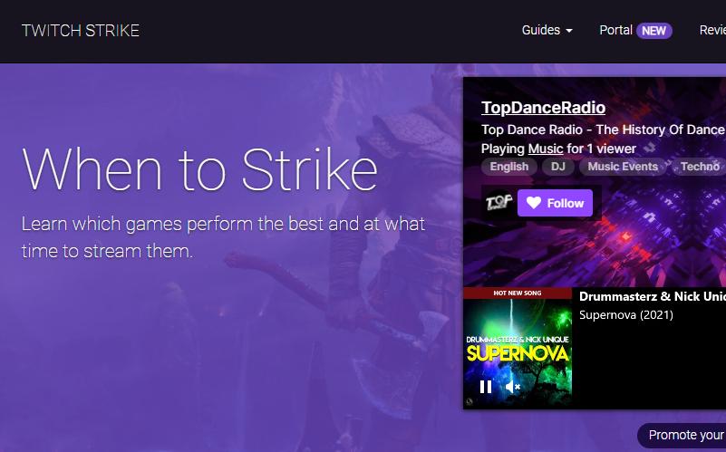 Screenshot of TwitchStrike Website Homepage