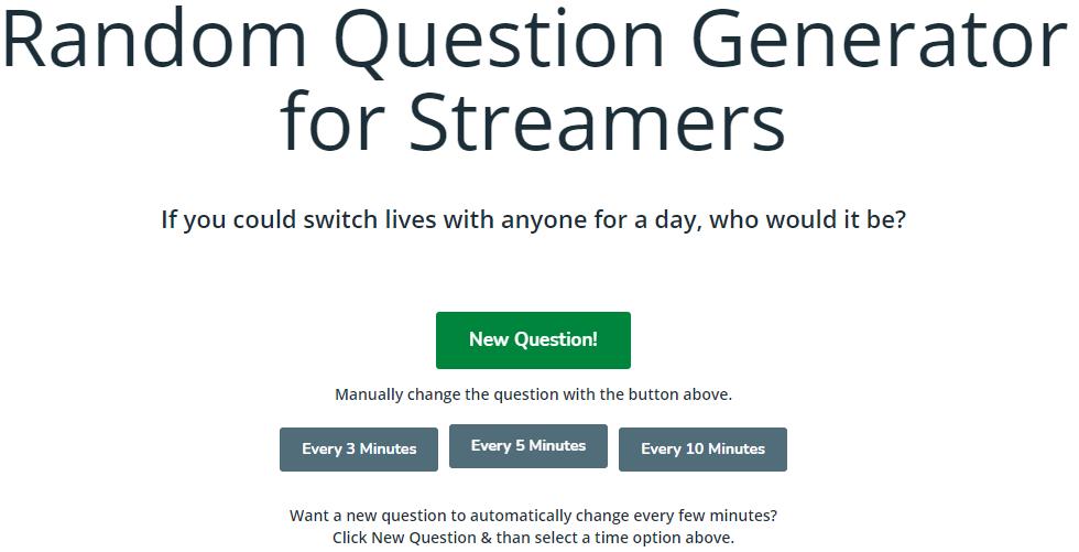 Screenshot of Random Question for Streamers Tool
