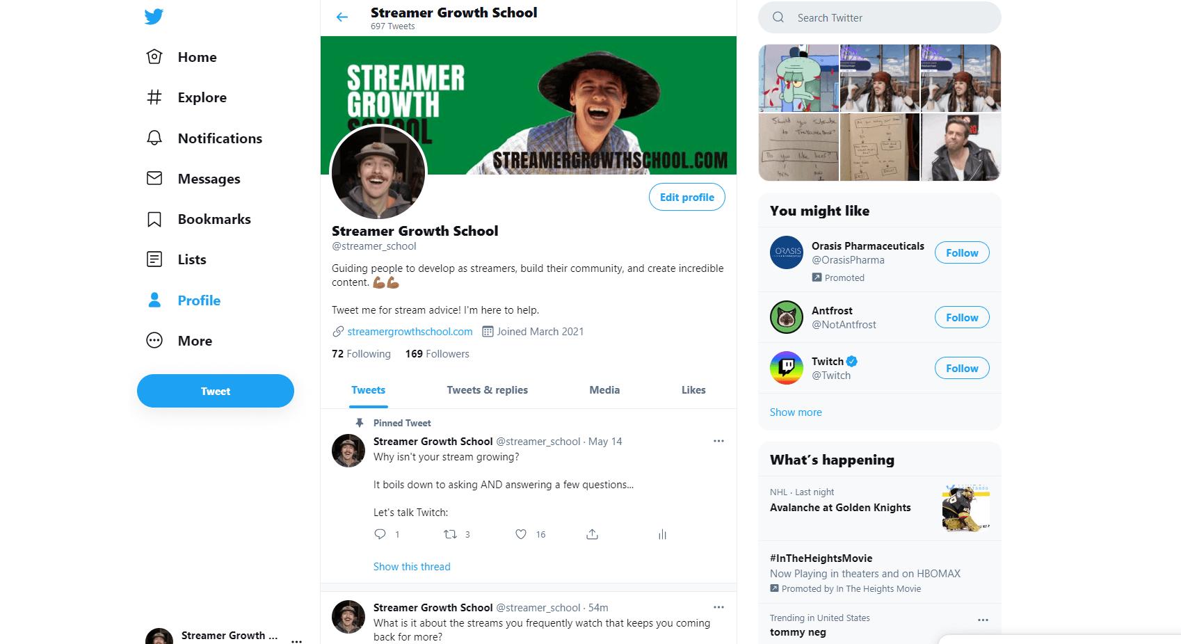 Streamer Growth School Twitter Page