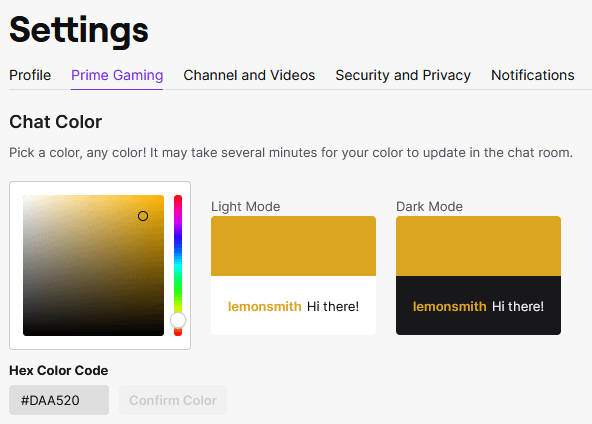 screenshot of where to change Twitch name to black