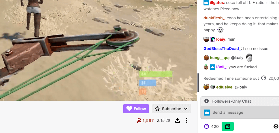 Part of a Twitch Channel emphasizing the follow button