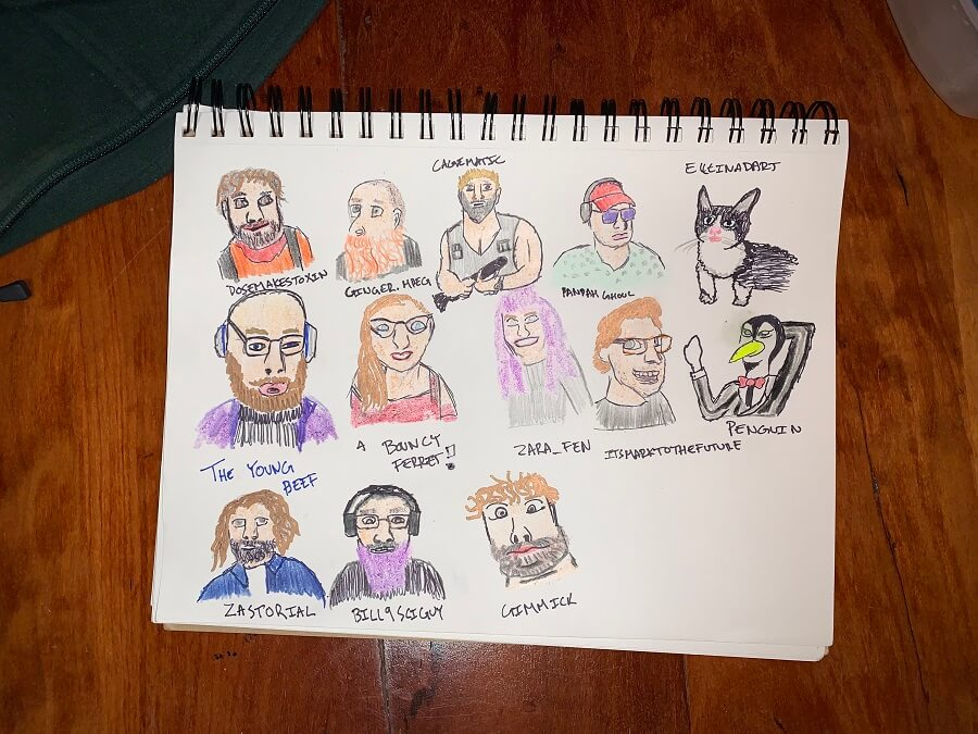 colored drawing of twitch viewers