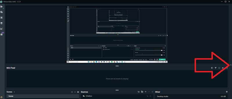 stream labs open up chatbox arrow