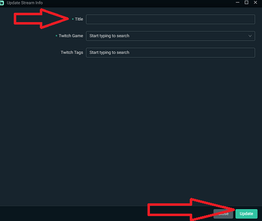 Streamlabs Update Stream Info Window