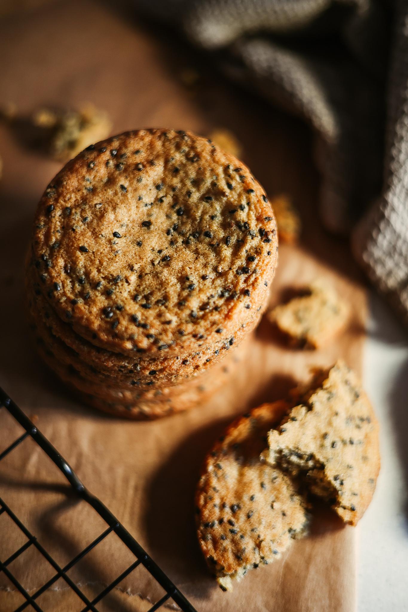 Stack of black sesame cookies