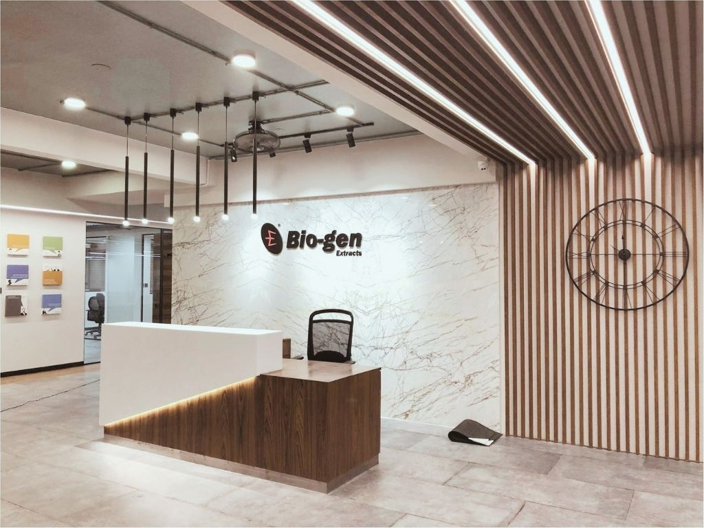 Office reception area in marble and wood