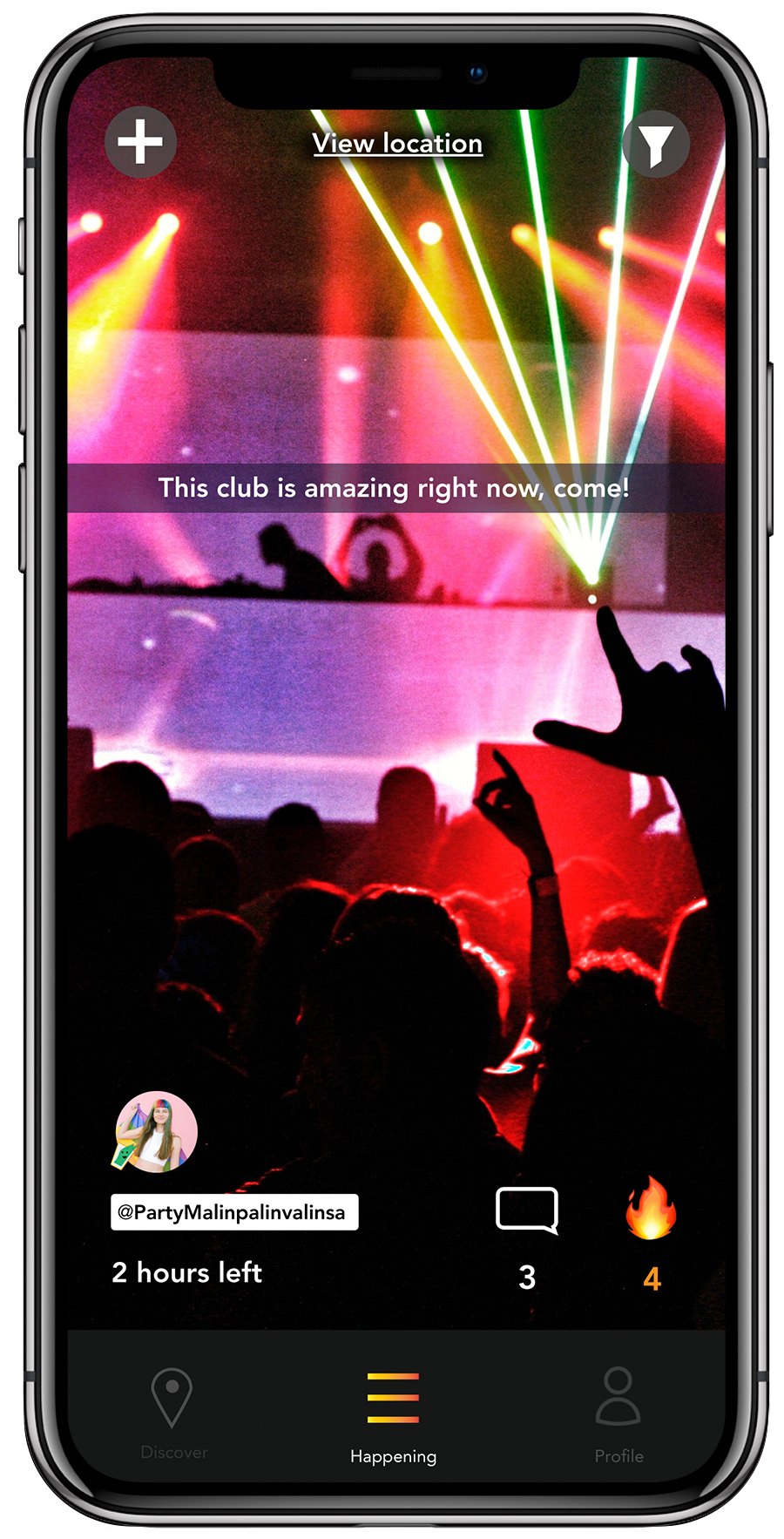 An event at a nightclub on the nightli app