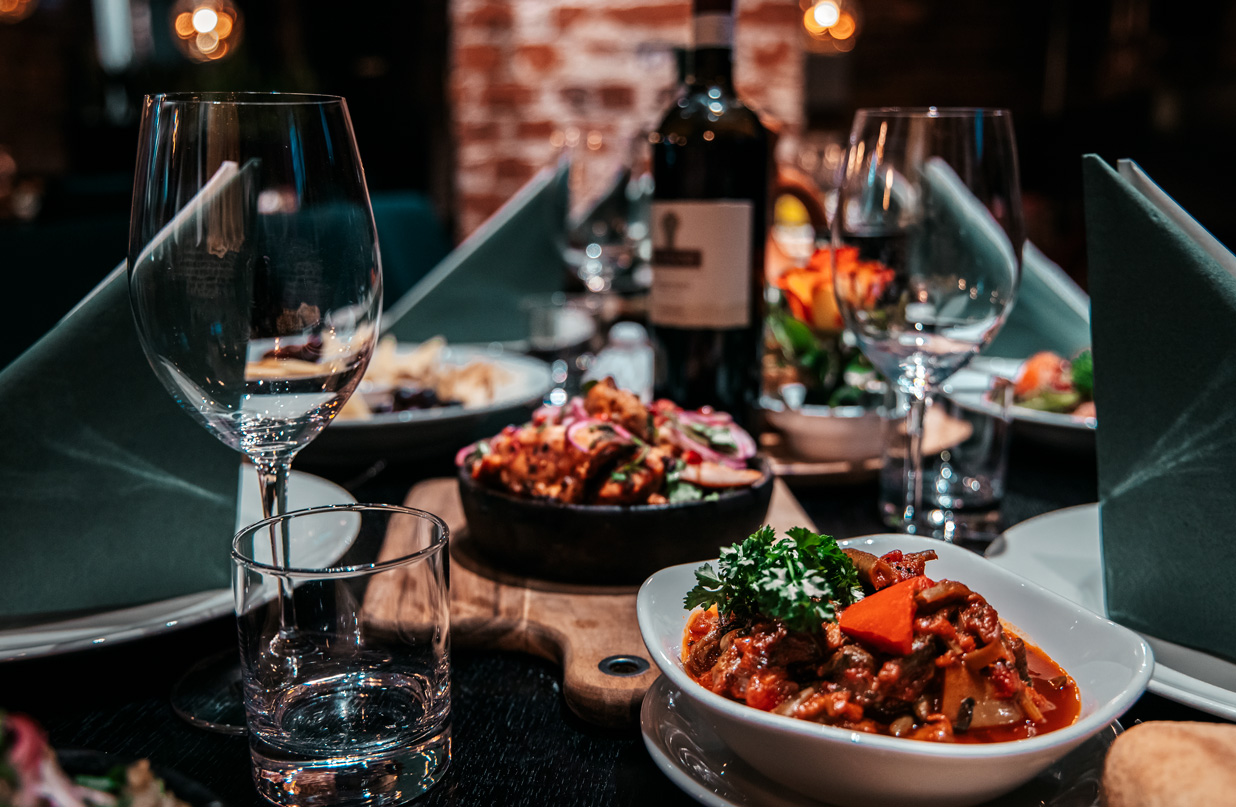 Table with georgian food in Helsinki