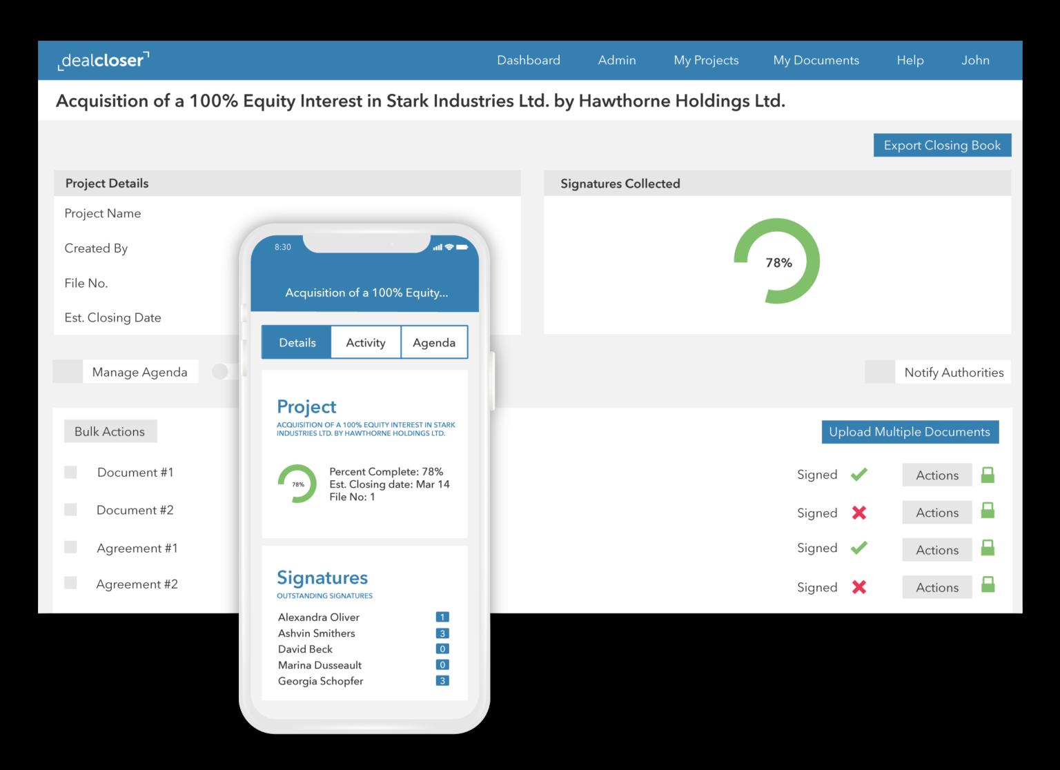 dealcloser desktop and mobile app showing transaction progress