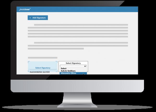 Computer monitor showing dealcloser app