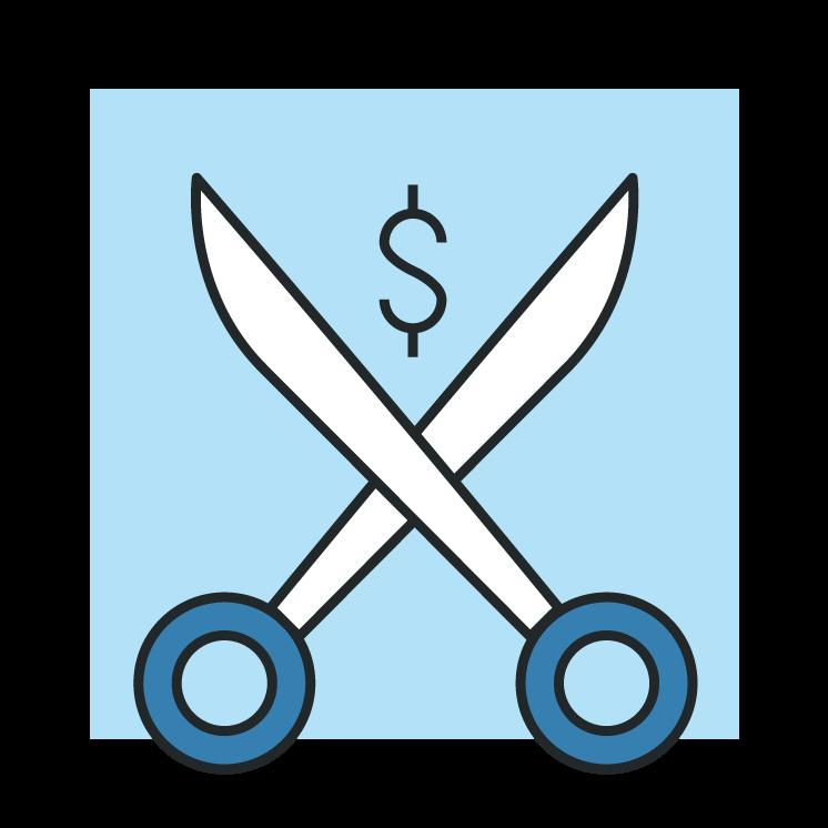 Scissors and money sign icon