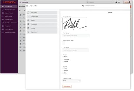 screen shot of Vasion Workflow  product