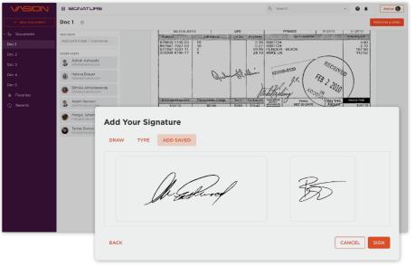 screen shot of Vasion Signature product