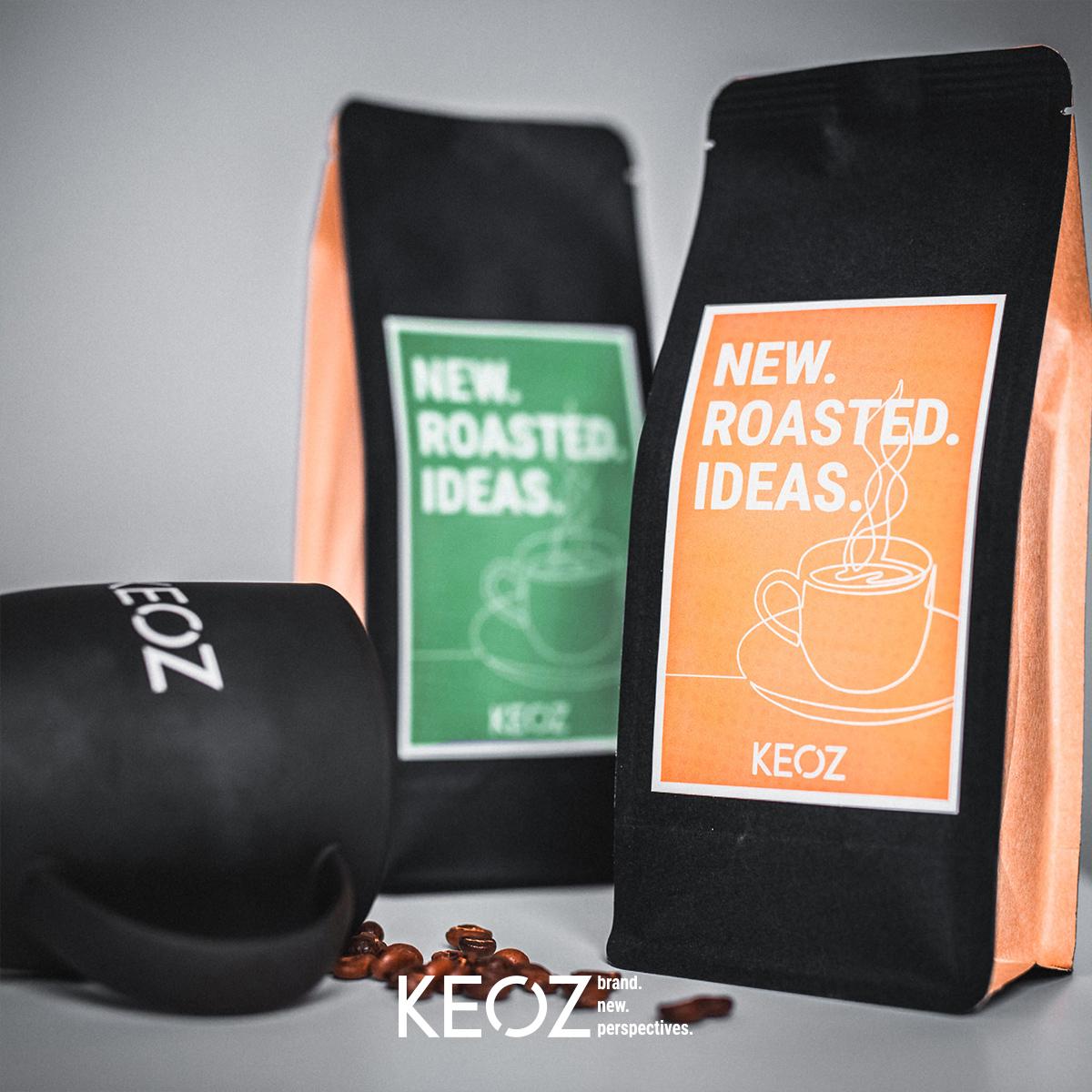Unsere KEOZ Kaffeebohnen und Kaffeetasse