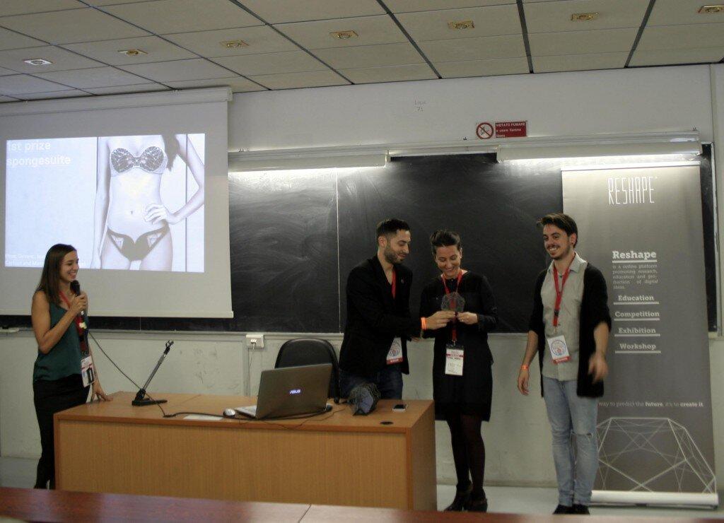 Reshape15 Awarding Ceremony (from left to right: Efilena Baseta, Aldo Sollazzo, Pinar Guvenc, Marco Mattia Cristofori)