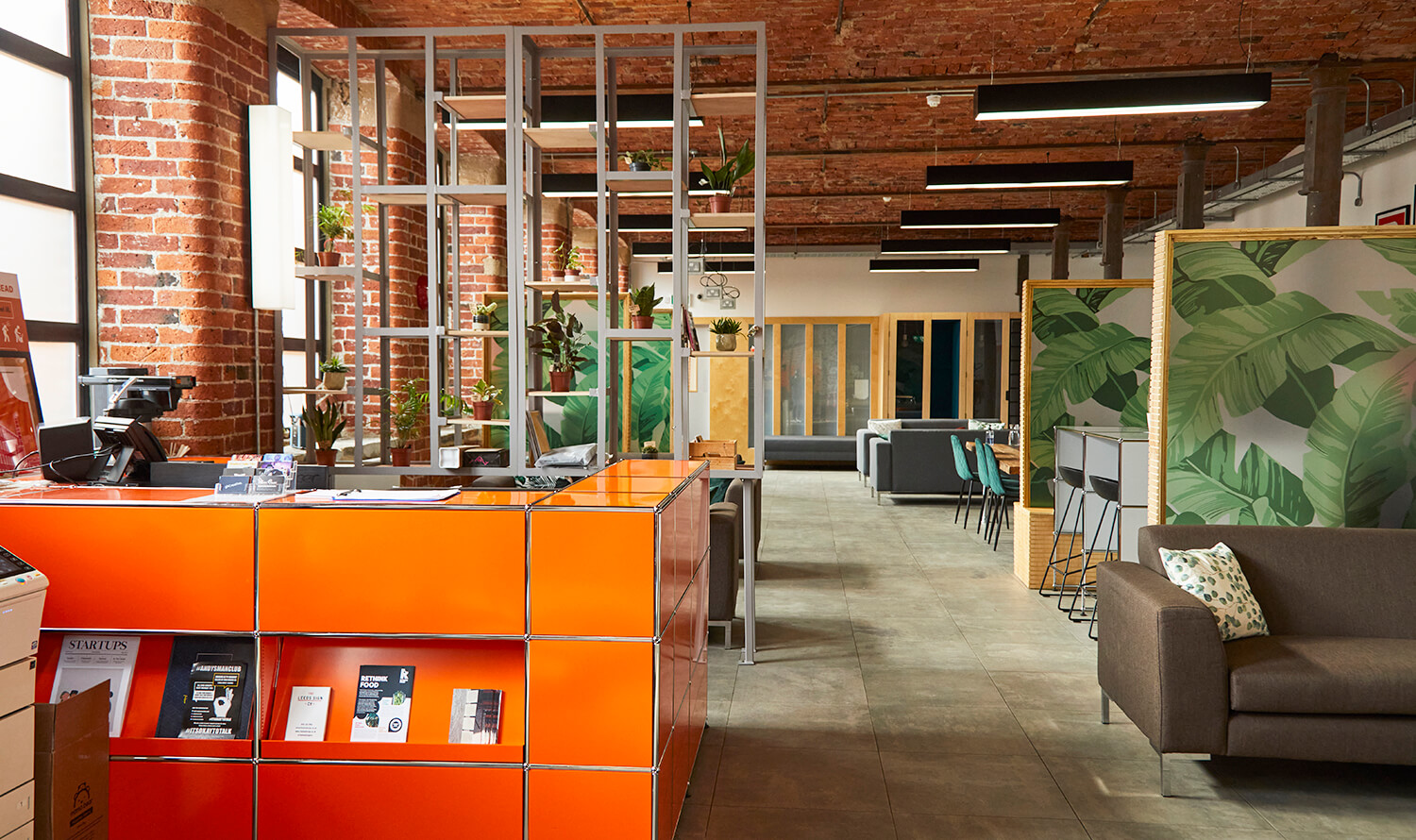A view across the reception and flexi-working area at Castleton Mill in Leeds