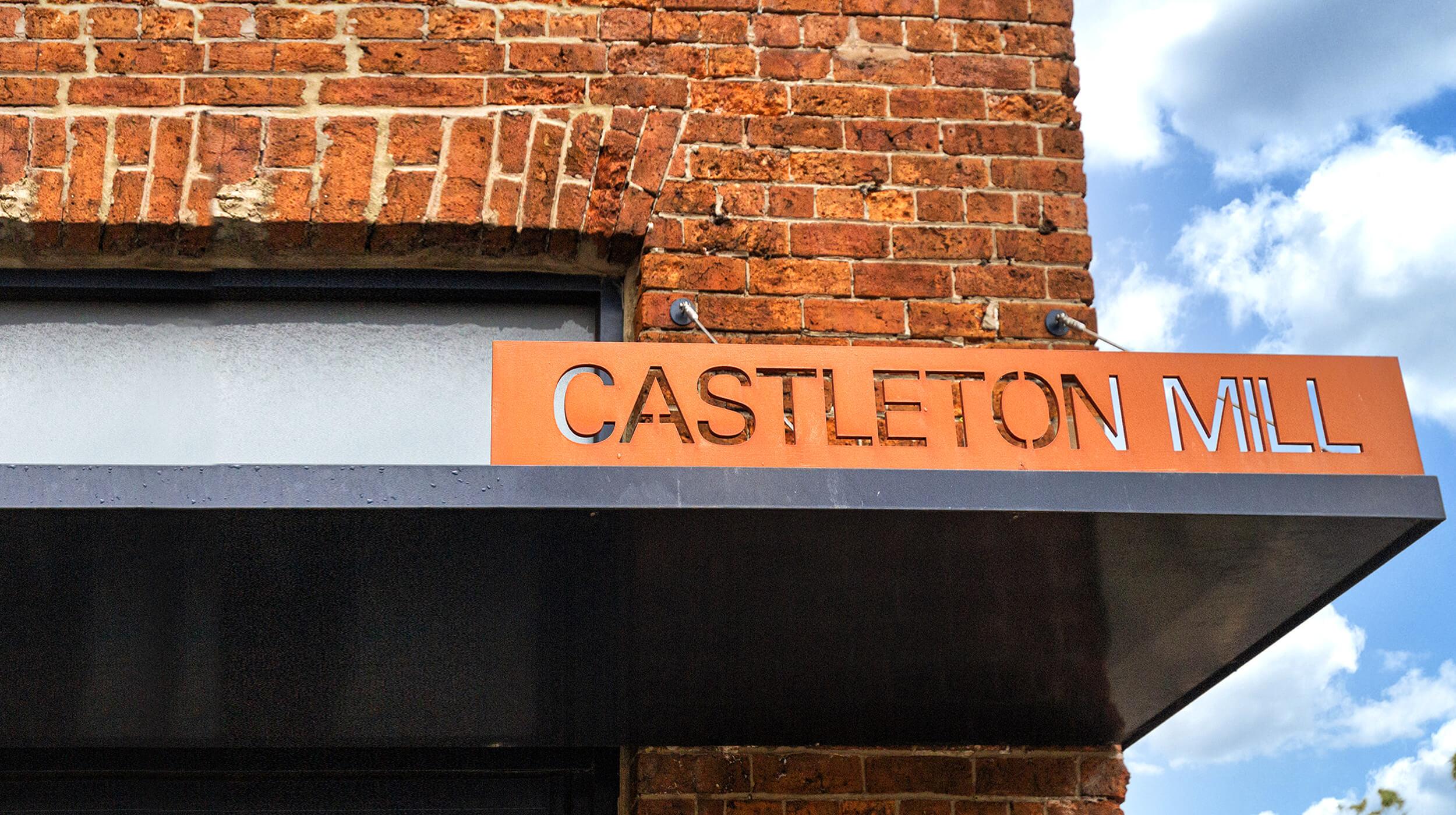 Exterior Castleton Mill signage - meet the team at Castleton Mill