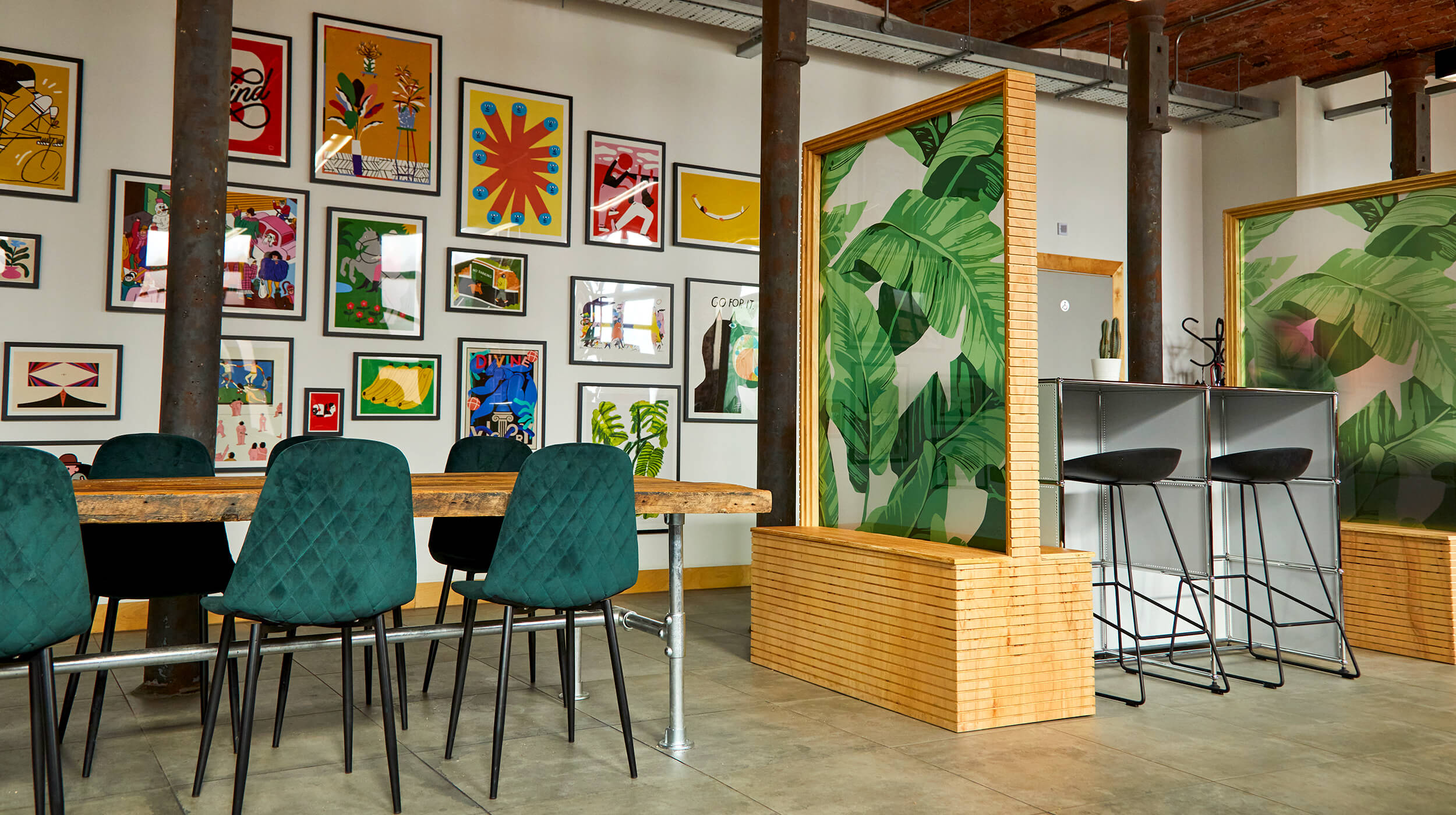 Workspace and artwork in the shared workspace at Castleton Mill