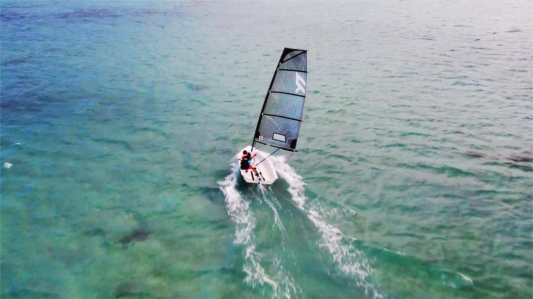 Small sailboat Reverso Air view from drone