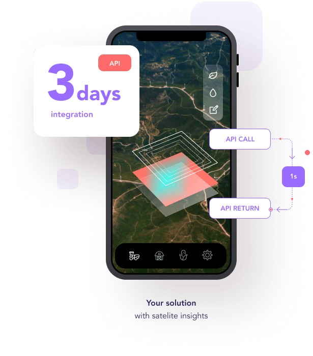 Mobile farm management application showing field mapping through satellite