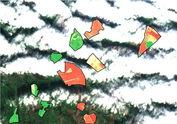 A clouded satellite image with crop health visible on fields