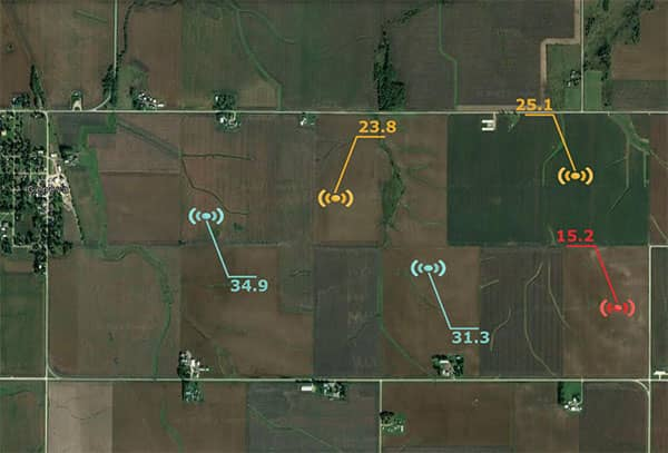 Fields with sensors spread out giving soil moisture value