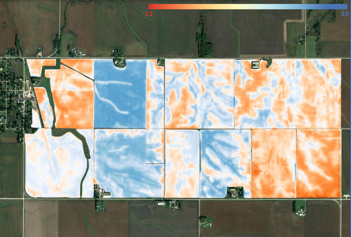 An image of fields with a soil moisutre overlay