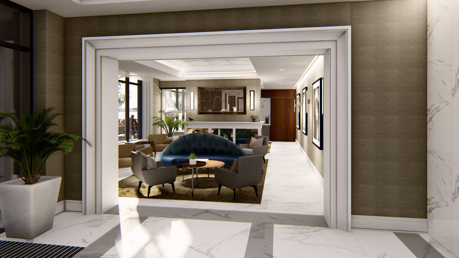 120 S. Broadway living room and kitchen rendering