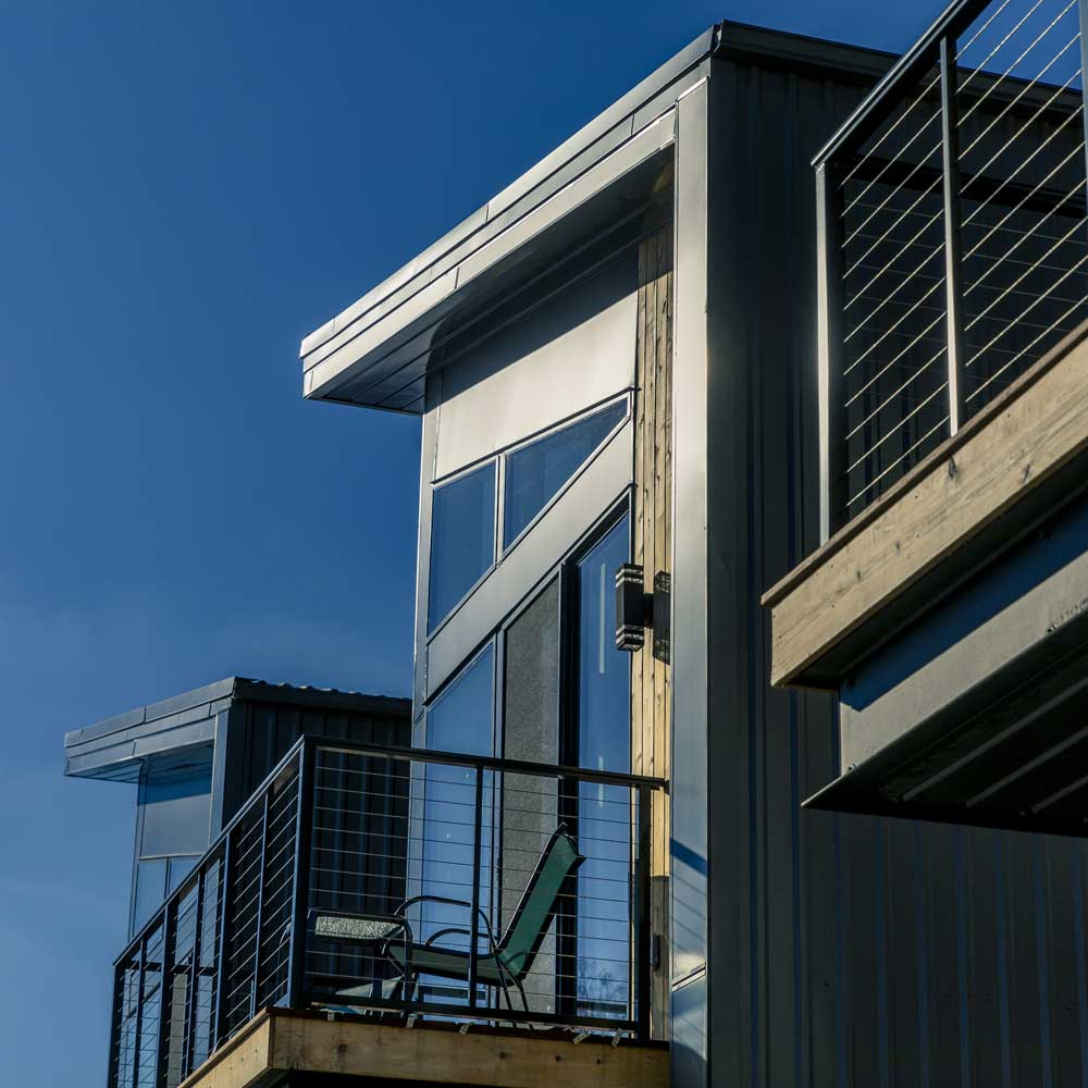 Livernois Loft balcony and roofline details