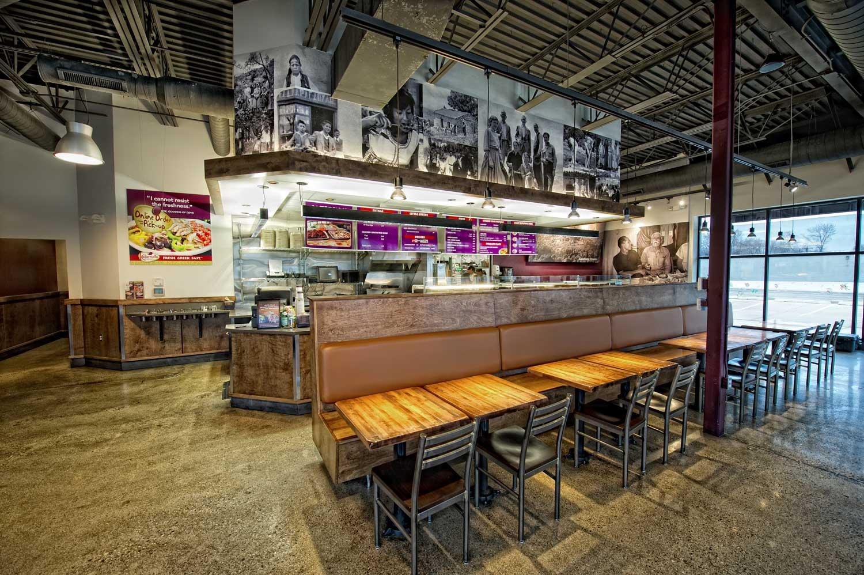 Kalamata Greek Grill tables and ordering counter