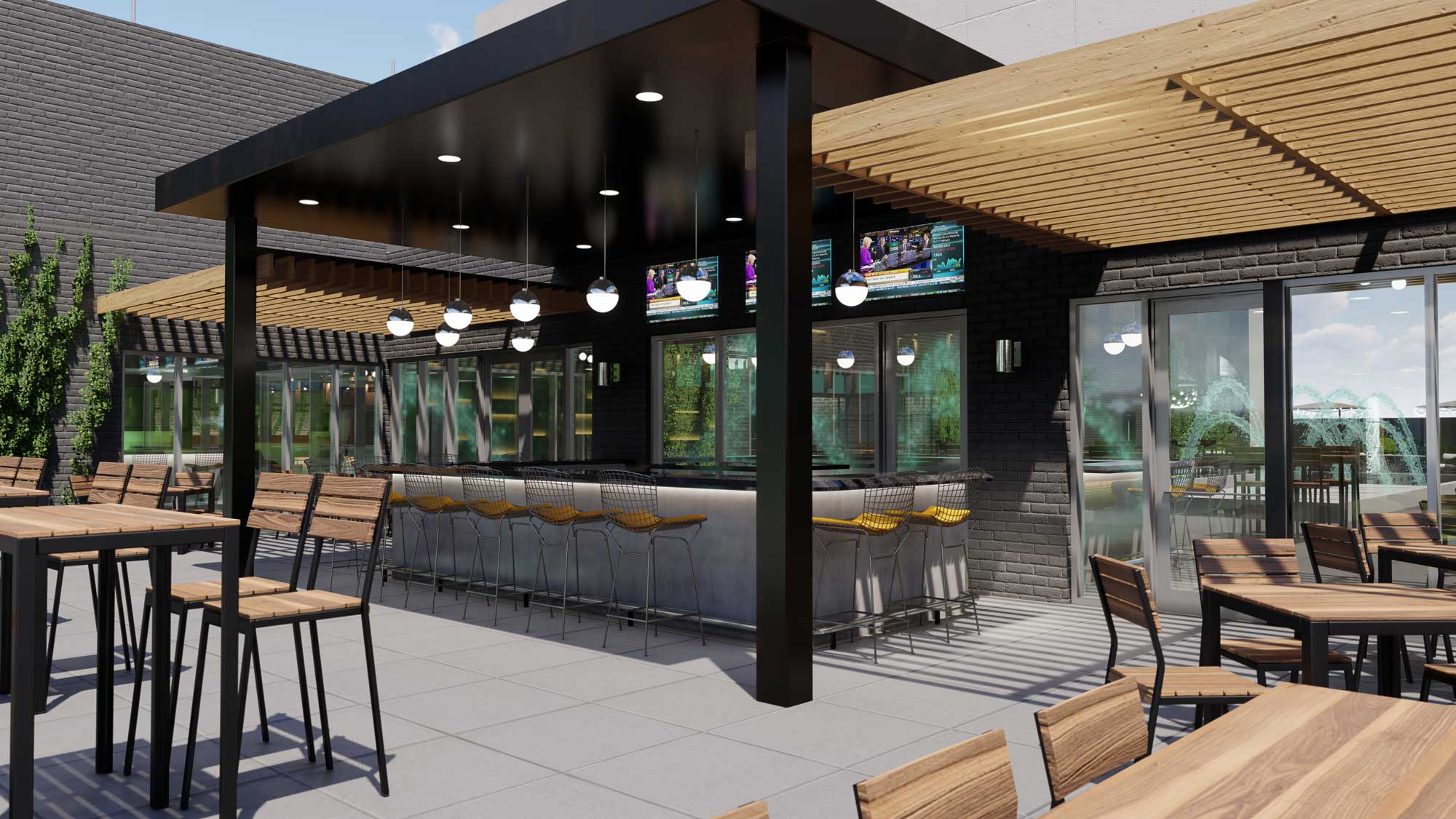 Cambria Hotel Detroit rooftop bar rendering