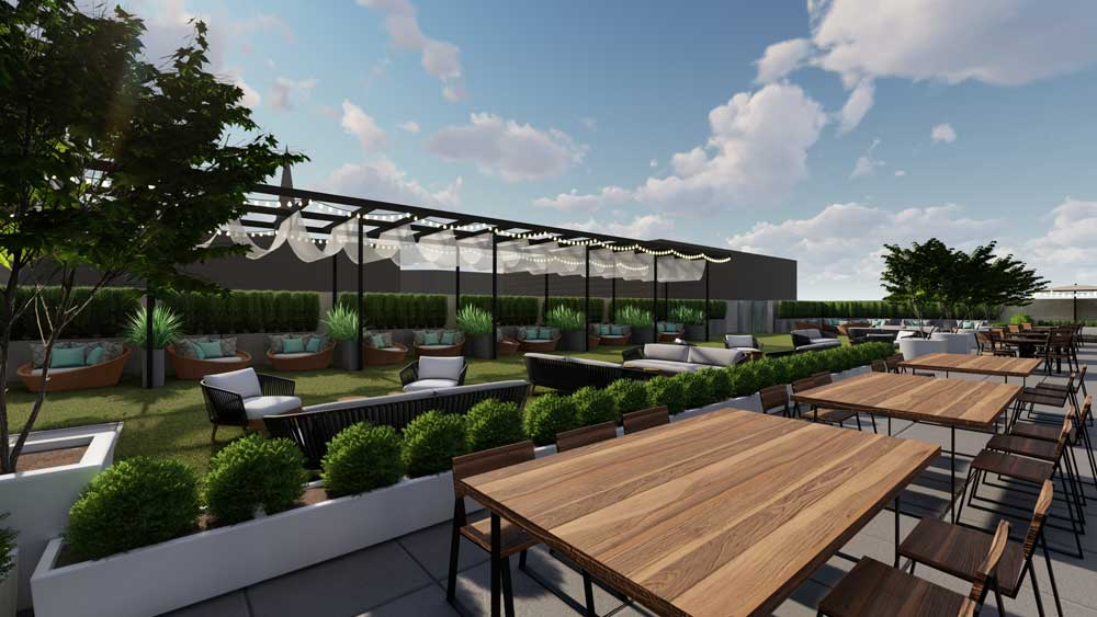 Cambria Hotel Detroit rooftop patio and bar rendering