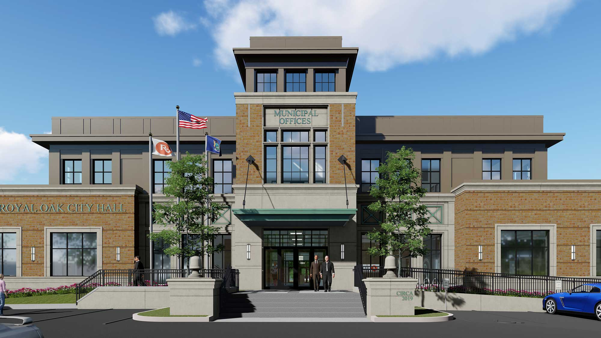 Royal Oak City Hall offices exterior rendering