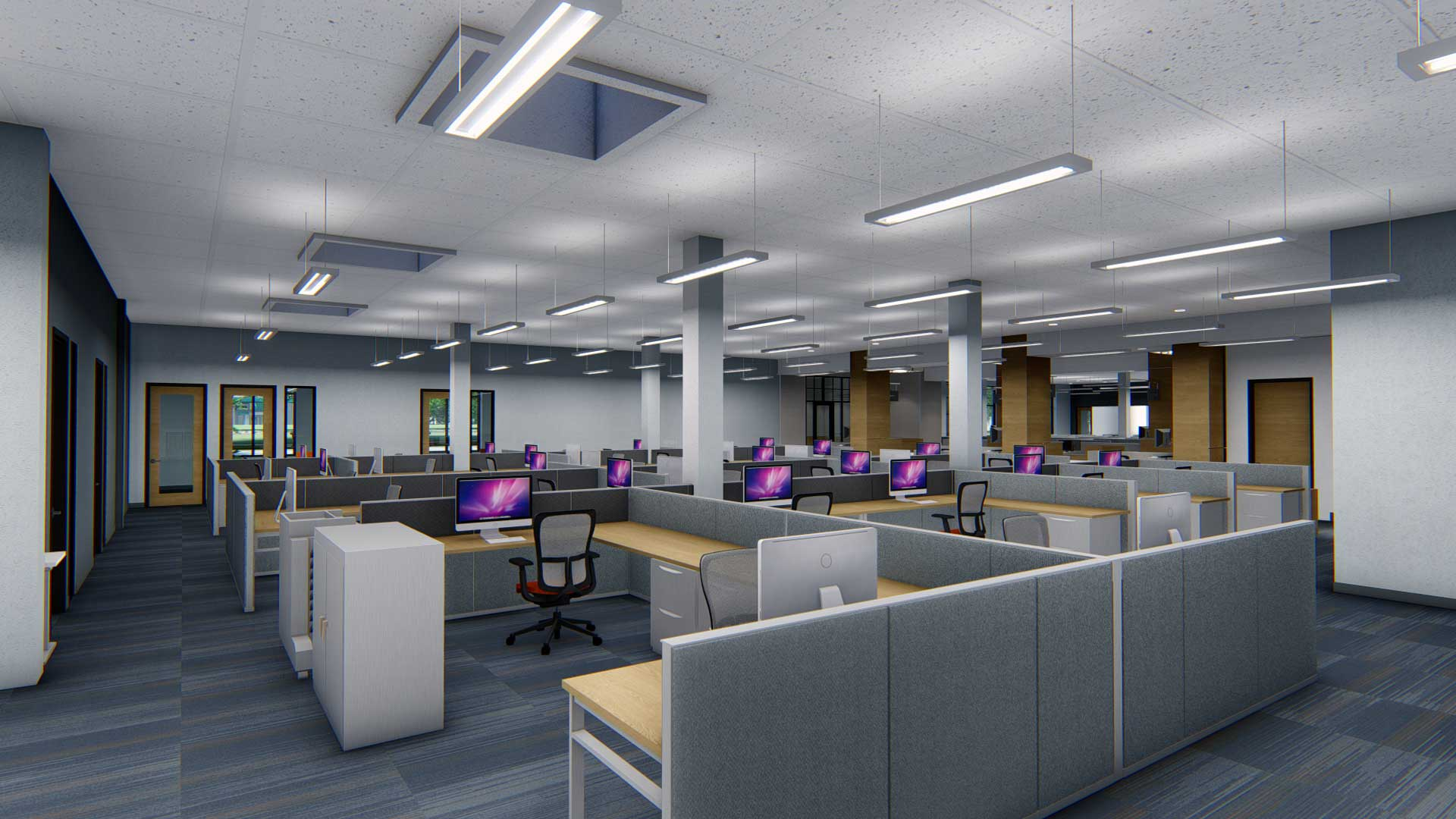 Royal Oak City Hall open concept office space with shared cubicles rendering