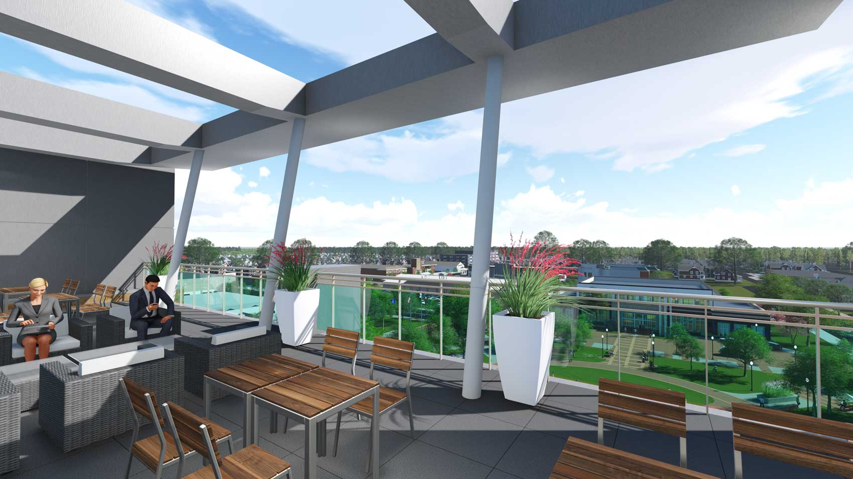 Royal Oak City Center rooftop patio and lounge area rendering