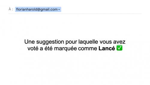 Mail notification communication produit