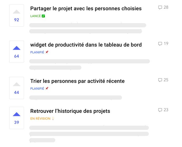 Voter et donner feedback client