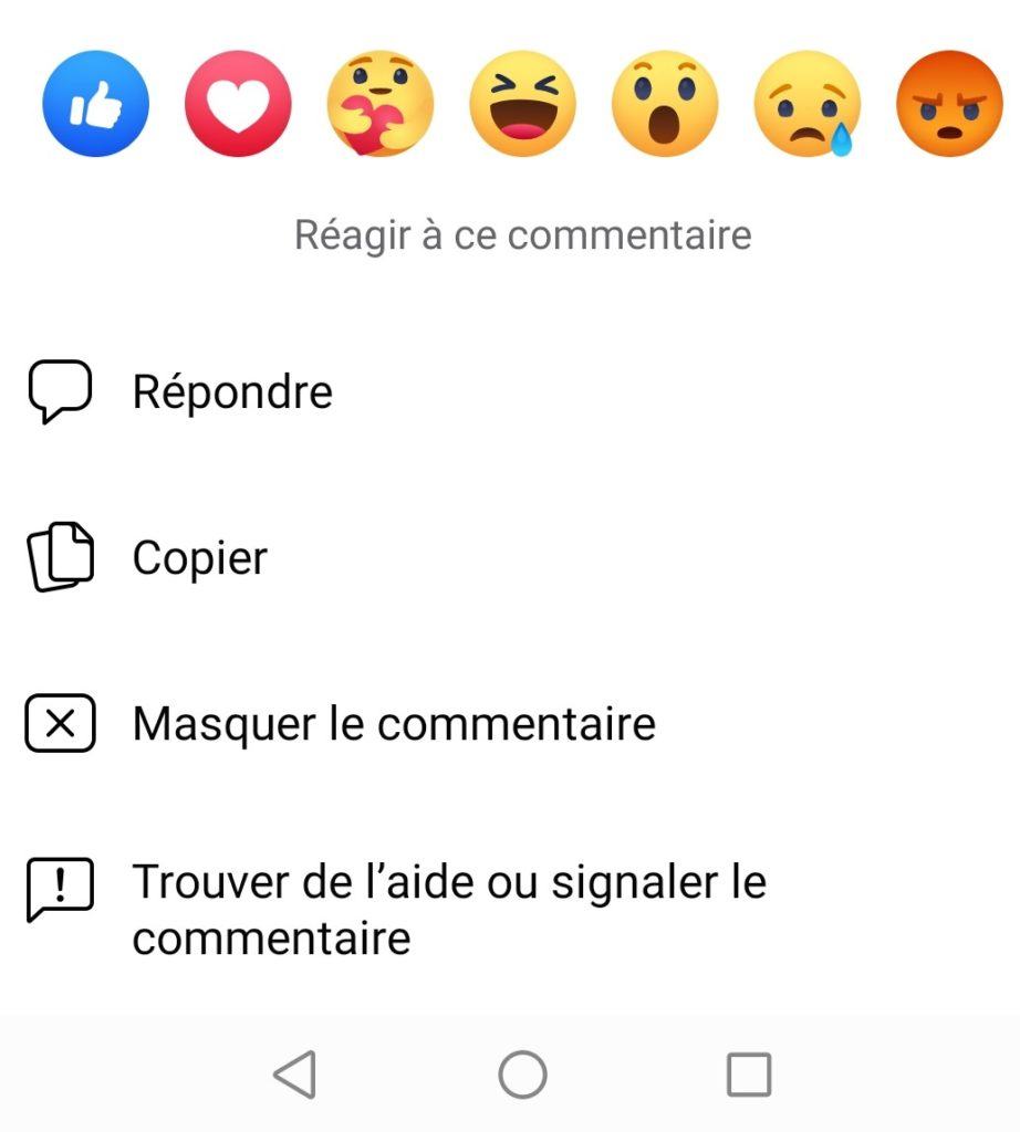 réaction facebook