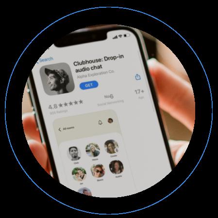 Clubhouse social media app on phone