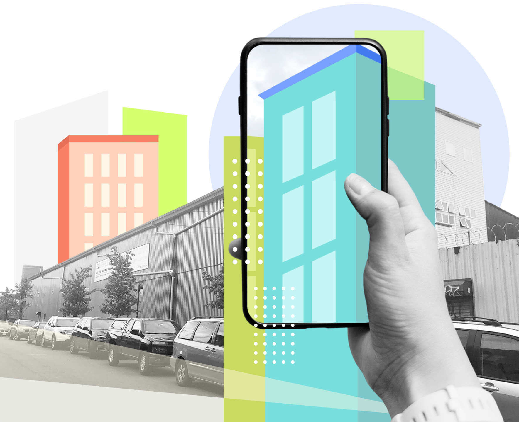 Phone pointing at buildings and showing future changes in augmented reality (AR).