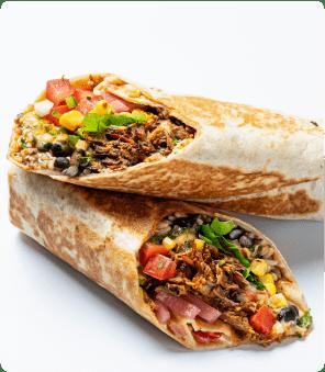 Burrito cut in half